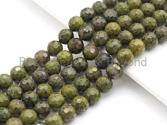 """SPECIAL CUT Natural Olive Chlorastvolite, Round Faceted 6mm/8mm/10mm/12mm, 15.5"""" Full Strand, sku#U644"""