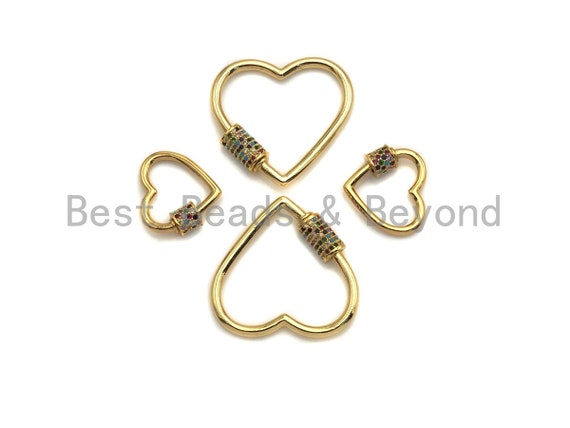 Colorful CZ Micro Pave Heart Shape Clasp, Gold Plated Heart Shape Clasp, Pave Lock,18mm/30mm, sku#K82
