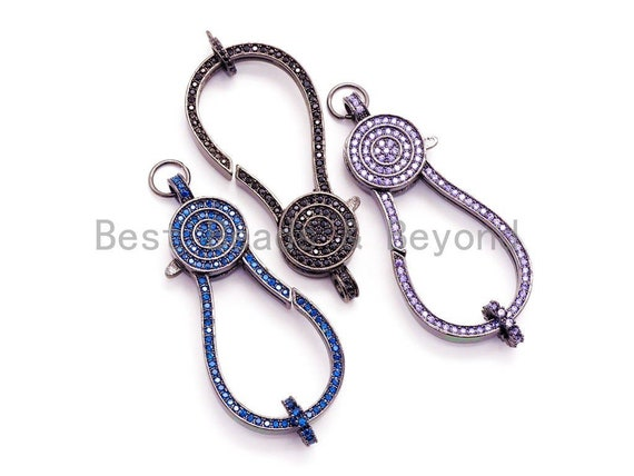 CZ Color Micro Pave Jumbo Lobster Clasp with Jump Ring, 56x23mm, SKU#H41