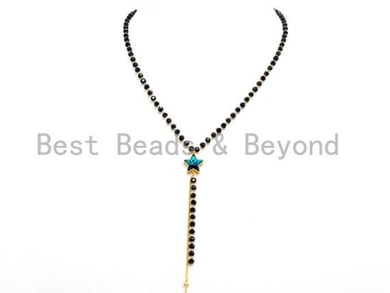 Black Beaded Star choker with Y-Drop, Dainty Gold Black Choker, Black Rosary Choker, Pearl Choker, Short Necklace, Y-Drop Necklace, SKU#P5