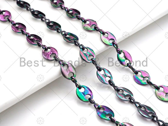 High Quality Rainbow Plated Gucci Inspired Link Chain, Hand Made Oval Anchor / Mariner Chain,Wholesale bulk Chain, 7x9mm, sku#M338