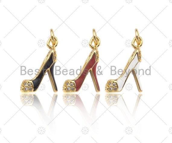 Enamel Colorful High Heel Shoes Shape Pendant,CZ Micro Pave Enamel Charm,Enamel Jewelry,15x18mm,Sku#LK274