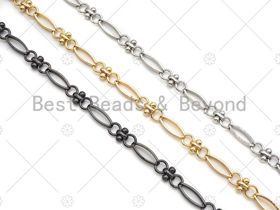 High Quality Hand Made Fancy Oval T Ball Shape Ball Statement Chain, 18K Gold filled Chain, Wholesale bulk Chain, 4x11mm,sku#M369