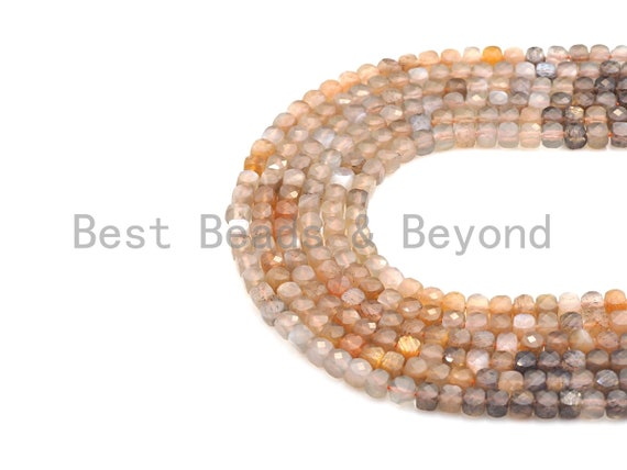 """High Quality Natural Mixed Moonstone Cube Beads, 4mm Moonstone Faceted Cube Beads, 16"""" Full Strand, sku#U771"""