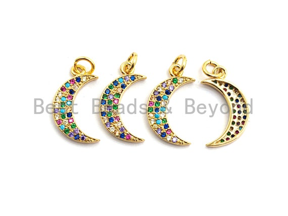 PRE-SELLING CZ Colorful Micro Pave Crescent Pendant, Moon Shaped Pave Pendant, Gold plated, 5x19mm, Sku#F757
