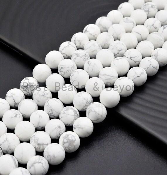 Natural Matt Round Howlite beads, 6mm/8mm/10mm/12mm Natural White Gemstone beads, Natural Howlite Beads, 15.5inch strand, SKU#U398