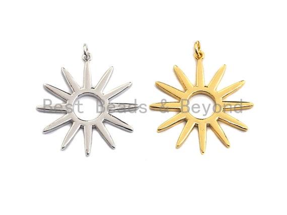 PRE-SELLING Round Hollow out Sunflower Pendant,  Sunburst Brass Pendant, Necklace Bracelet Charm Pendant,Silver/Gold Tone, 30x33mm, Sku#Z415