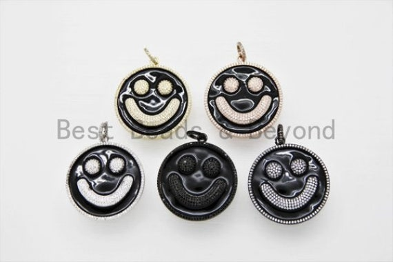 38mm Black Enamel Oil Drop Smiley Face Round Pendant, Gold/Rose gold/Black/Silver, Cubic Zirconia Pave Pendant, Happy face charm, SKU#F612