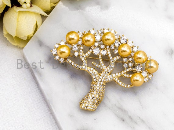 CZ Micro Pave Tree Brooch/Pin/Pendant with Shell Pearls, Gold plated Pave Brooch Pin , Large pave pendant, Christmas Gift 40x50mm, Sku#P41