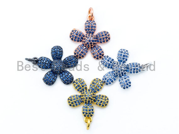 16mm CZ Cobalt Blue Micro Pave Daisy Flower Pendant,Cubic Zirconia Paved Flower Charm Gold,Silver, Rose Gold, Gunmetal plated, sku#L84