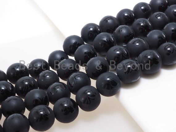 Natural Black Onyx Matte Round Smooth with Butterfly Beads, 6mm/8mm/10mm/12mm Round Frosted onyx, Patterned Onyx, 15.5inch strand, SKU#V17