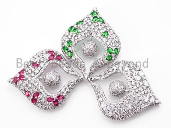 CZ Micro Pave Heart Tassel Head with Silver/Fuchsia/Green Gemstone, Pendant/Pendant Connector, 45x36mm, SKU#L204