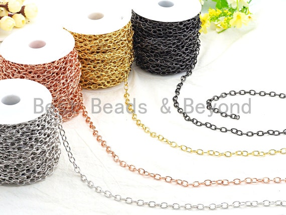 High Quality Oval Gunmetal/Gold/ Rose Gold Plated Plain Chain, Oval Cable Chain, link size 7x9mm, sku#E502