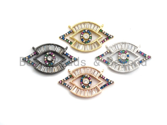 PRE-SELLING Colorful Cz Micro Pave Evil Eye Pendant with Baguette cz, Colorful CZ,Cubic Zirconia Pendant,17x30mm, 1pc/5pcs, sku#F743