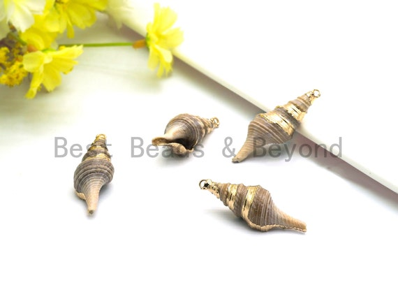 Gold plated Conch Shell Pendant, Shell Jewelry, Beach Jewelry, Necklace Pendant,16x49mm Shell Pendant/Charm,sku#V35