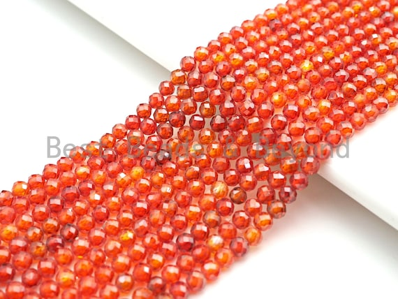2mm/3mm/4mm High Quality Sparkly Cubic Zirconia Beads, Faceted Sparkly Orange Red Color beads, 15.5inch full strand, SKU#U917