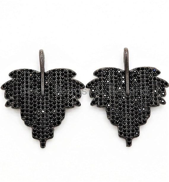 Black CZ Pave On Black Micro Pave Leaf Pendant/Charm,Cubic Zirconia Pendant,Fashion Jewelry Findings, 31x36mm, sku#F540