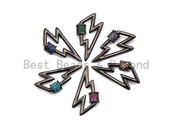 Colored Connector CZ Micro pave Lightning Bolt Clasp, Green/Fuchsia/Cobalt/Purple/Turquoise CZ Pave Clasp,15x28mm, sku#H153