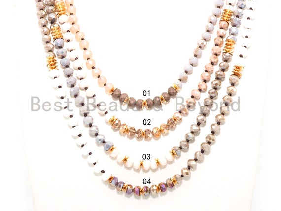 "NEW STYLE 60"" Long Hand Knotted Multi Color Crystal Necklace Chain, Double Wrap Necklace, 5x8mm Crystal with Brass Spacer Beads, SKU#D26"