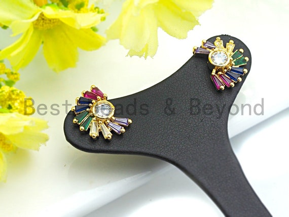 Pre-Selling Colorful CZ Micro Pave Earring, Radical Flower Shaped Earring, Big CZ Gold Stud Earring,12x16mm,sku#J114