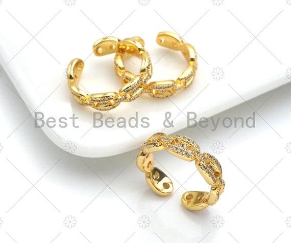 CZ Pave Mariner Link Ring, Gucci Link Ring, Gold Gucci Link Ring, Statement Link Ring, Stackable Ring, sku#LD49