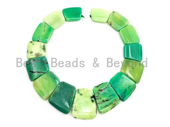 Quality Natural Green Grass Agate Graduated 17-35mm Trapezoid Beads Strand, Natural Green Grass Agate Gemstone Beads, 1 strand,sku#U222