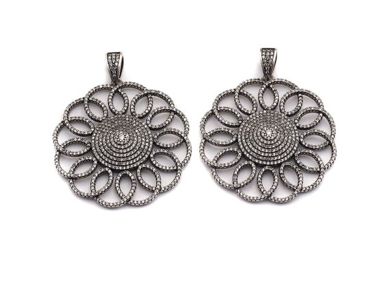 PRE-SELLING  Antique Finish CZ Micro Pave Filigree Flower Pendant,Silver Tone, Cubic Zirconia Big Pave Round Flower Pendant,46x49mm,sku#F990