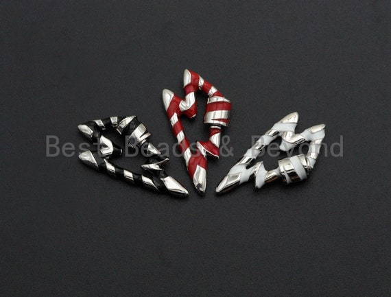 PRE-SELLING Colorful Enamel Pave Lightning Shape Clasp, Silver Plated Screw Clasp, 18X32mm, Carabiner Clasp, sku#K79