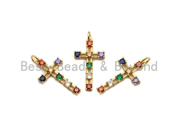 PRE-SELLING Colorful CZ Micro Pave Cross Pendant, Cz Pave Bracelet Necklace Pendant in Gold Finish,27x15mm, sku#F906