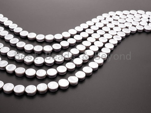 Gray  Natural Mother of Pearl beads,12x5mm Pearl Coin beads, Loose Coin Smooth Pearl Shell Beads, 16inch strand, SKU#T79