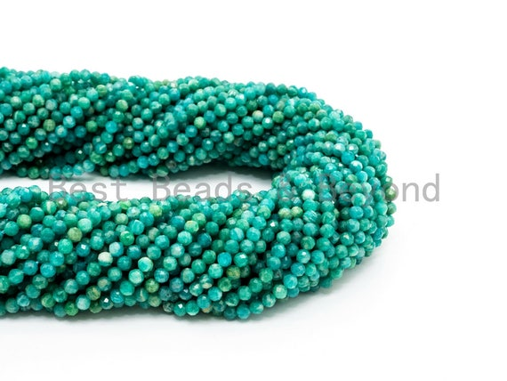 Unique Diamond Cut Quality Natural Amazonite beads, 2mm/3mm/4mm, Diamond Cut Faceted Round Gemstone Beads, 15-16inches strand, SKU#U149