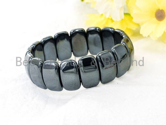 Natural Color Hematite Stretch Bracelet, Metal Gemstone Beaded bracelet, Links Hematite Beads on Stretch Cord, Elastic bracelet SKU#S66
