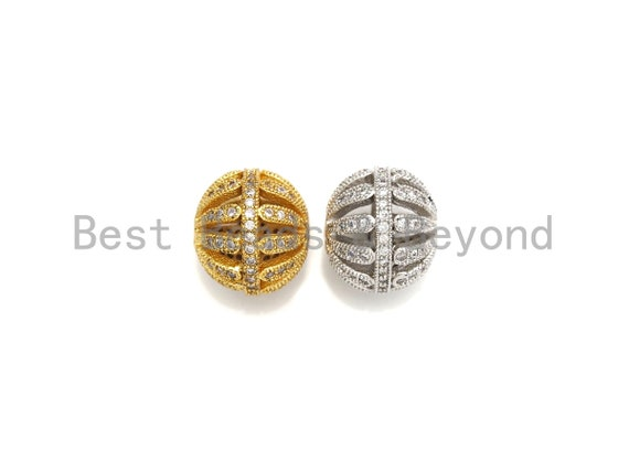 PRESELLING CZ Pave Cage beads, Cubic Zirconia 11x12mm Spacer Beads, Gold/Silver Spacer Beads, sku#Z875