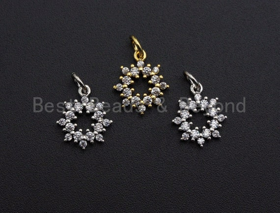 CZ Micro Pave Open Snowflake Flower Pendant ,Gold/Silver Tone ,Cubic Zirconia Jewelry Findings, 11x13mm,sku#L274