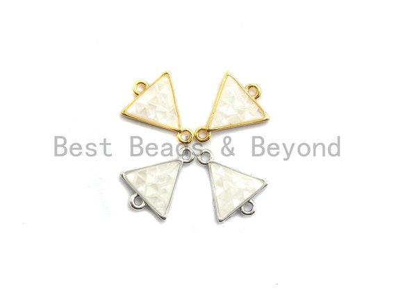 100% Natural Shell White Triangle Connector with Gold/Silver Plated Edging, White Mother of Pearl Shell Connector, Shell, 11x14mm,SKU#Z267
