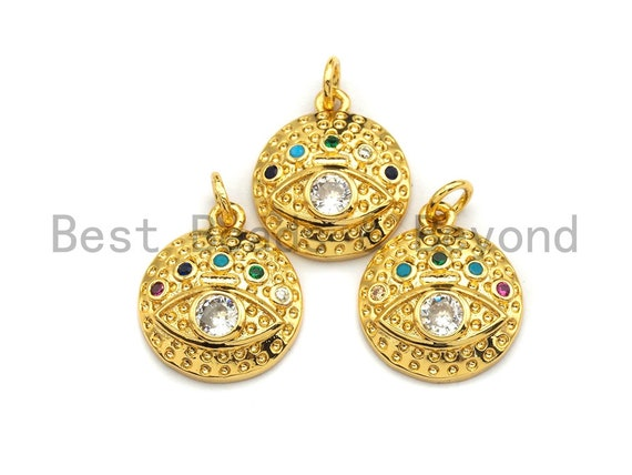 PRE-SELLING CZ Colorful Micro Pave Round  Gold With Evil Eye Coin Pendant, Coin Shaped Pave Pendant, Gold plated, 15x17mm, Sku#F866