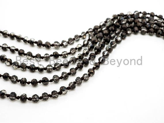 "60"" EXTRA Long Hand Knotted Crystal Necklace, Double Wrap Necklace, Hematite half plated Color 2x4mm Rondelle Crystal Beads, SKU#D16"