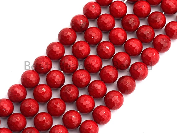 Quality Red Mother of Pearl beads,6mm/8mm/10mm/12mm/14mm Pearl Faceted Round beads, Loose Faceted Pearl Shell Beads, 16inch strand, SKU#T115