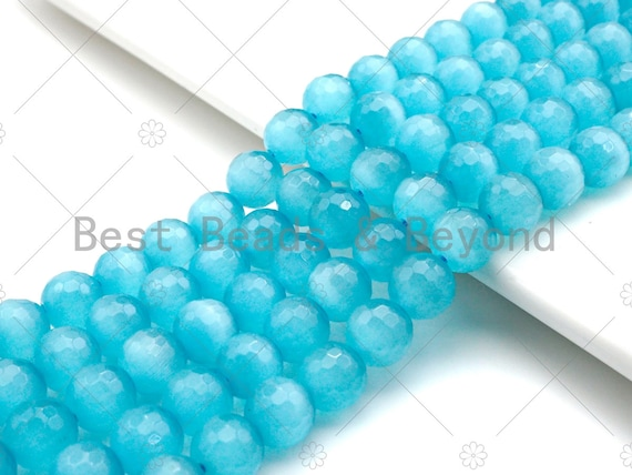 Special Cut Cat's Eye Blue Round Faceted Beads, 6mm/8mm/10mm/12mm Round Faceted, 15.5'' Full Strand, Sku#UA194