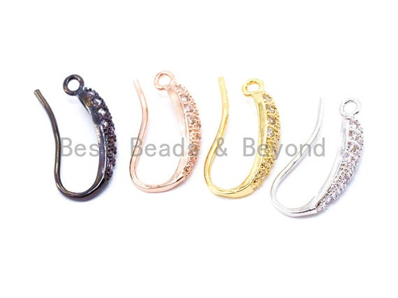 1pair/3pairs, CZ Micro Pave Gold, Silver, Rose gold, Black Rhodium Plated Earring Wires Hooks,17x4mm, sku#J16