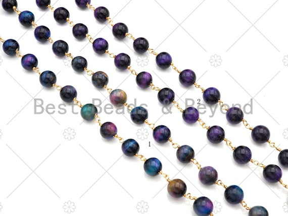 ESTY EXCLUSIVE!!! Purple/Glaxy High Quality Tiger Eye Rosary Chain, 8mm Beaded Chain, Wire Wrapped Gold Chain,Sku#V80