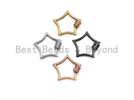 PRESELLING  CZ Pave Star Shape Clasp,  Star Clasp, Gold/Silver/Rose Gold/Gunmetal Carabiner Clasp, 26mm, sku#H247