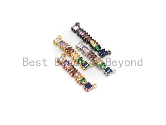 Clorful CZ Micro Pave Long Bar Pendant for Necklace ,Colorful Cz Beads, Micro Pave Findings Pendant, 6x35mm, sku#F682