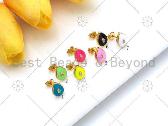 Colorful Enamel Teardrop Shape Earrings, 18K Gold Filled CZ Micro Pave Stud Earrings, Enamel Pave Jewelry, 11x8mm, Sku#O68
