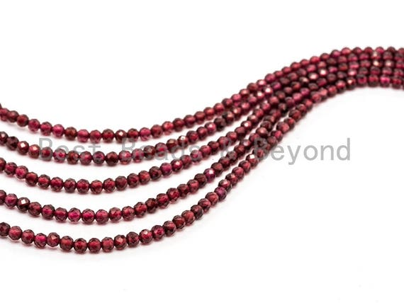 High Quality Natural Garnet Round Faceted beads, 2mm/3mm Tiny Sparkle Round Gemstone Beads, 15.5inch strand, SKU#U74
