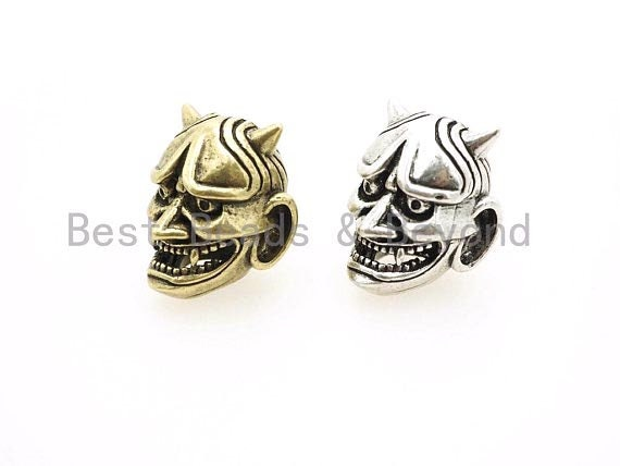 Antique Evil Goblin Head Bead, 550 Paracord Skull Charm, Survival Bracelet Beads, Lanyard Making Charm, Men's Bracelets DIY,16x19mm, sku#Y90