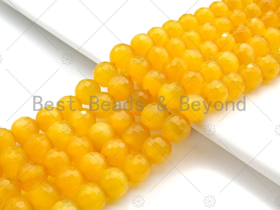 Special Cut Yellow Cat's Eye Round Faceted Beads, 6mm/8mm/10mm/12mm Round Faceted, 15.5'' Full Strand, Sku#UA201