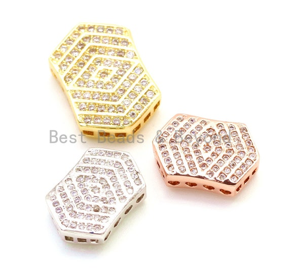CZ Micro Pave Irregular Hexagon Tassel Head Beads, Cubic Zirconia Spacer Beads, Separator beads, 22x15x5mm, sku#G150
