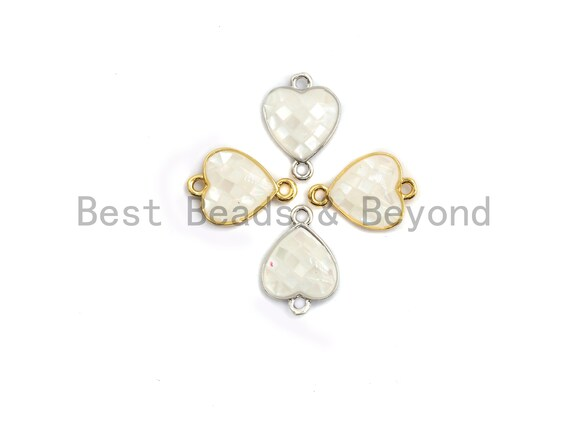 Natural White Heart Shape Connector with Gold/Silver Plated Edging, White Shell Beads, Natural Shell Findings, 10x14mm,SKU#Z277