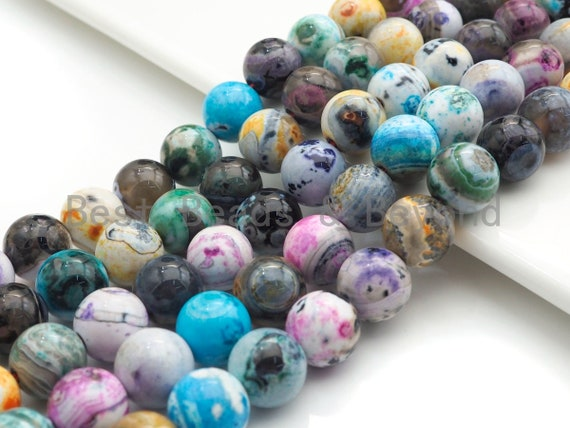 """NEW Multicolor Natural Agate Beads, Rainbow Color Agate, 12mm round agate beads, 15.5"""" Full Strand, sku#U944"""